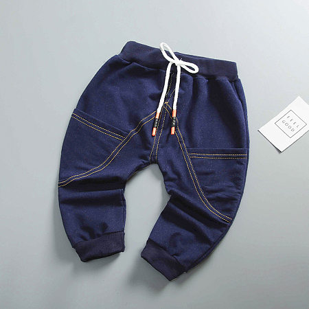 Solid Color Cotton Drawstring Pants
