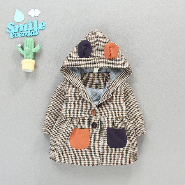 Fashion Check Split Joint Button Coat