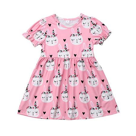 Sweet Printed Round Neck Dress, 8221590