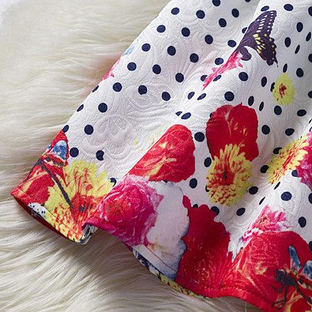 Buy Polka Dots Butterfly Prints Sleeveless Zipper Back Skater Dress, white, DC17112006 for $18.99 in Popreal store
