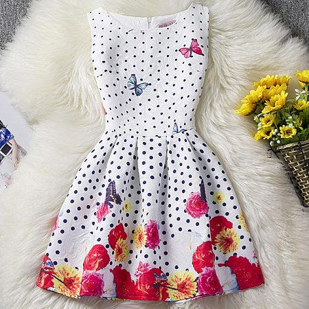 Polka Dots Butterfly Prints Sleeveless Zipper Back Skater Dress