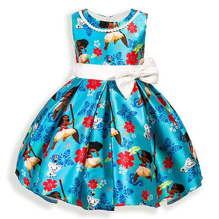 Floral Prints Bowknot Decorated Sleeveless Zipper Back Princess Dress, lake_blue, DC17112303