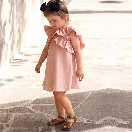 Solid Color Lace-Collared Drawstring Sleeveless Dress