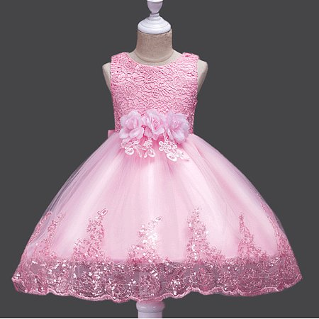 Flower Decorated Sequin Tulle Princess Dress