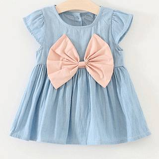Bowknot Decorated Solid Color Denim Dress