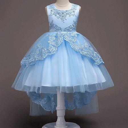 Floral Lace Overlay Asymmetrical Zipper Back Princess Dress