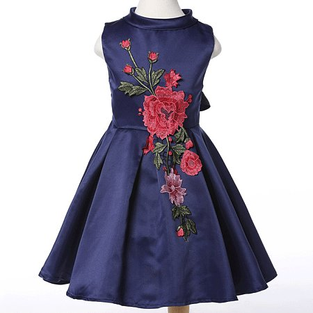 Solid Color Embroidered Roll Neck Zipper Back Flare Dress