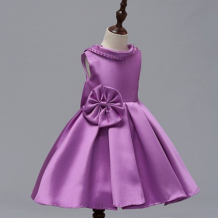 Solid Color Big Bowknot Decorated Roll Neck Backless Princess Dress