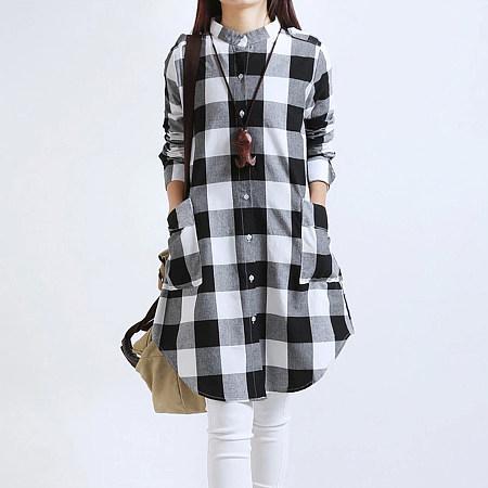 Plaid Band Collar Patch Pocket Curved Hem Shift Dress