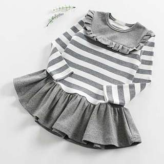 Stripes Long Sleeve Pleated Dress