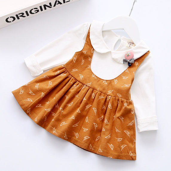 Fake-Two-Piece Doll Collar Pleated Dress