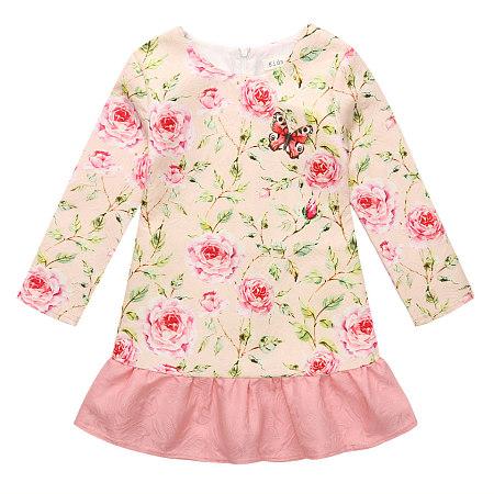 Sweet Rose Prints Frill Hem Dress