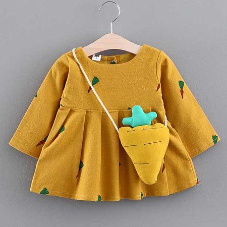 Adorable Cartoon Carrot Dress With Crossbody Bag