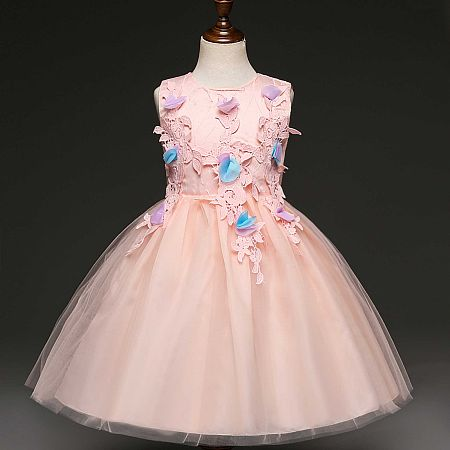 Graceful Applique Self Tie Tulle Dress