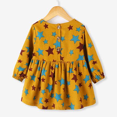 Star Print Button Back Dress