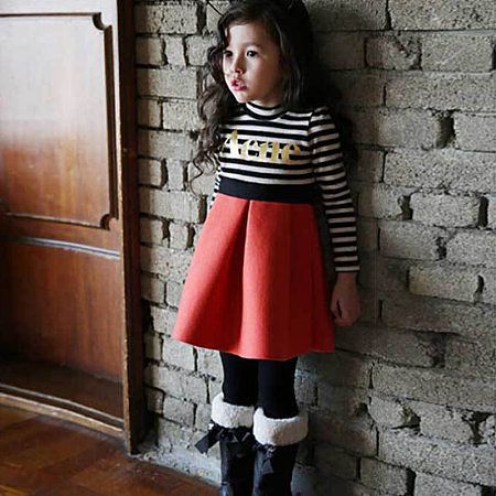 Letters Striped Cotton Patchwork Dress