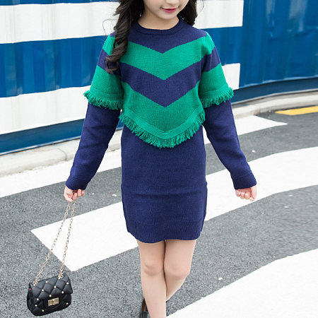Striped Fringed Round Neckline Knit Dress