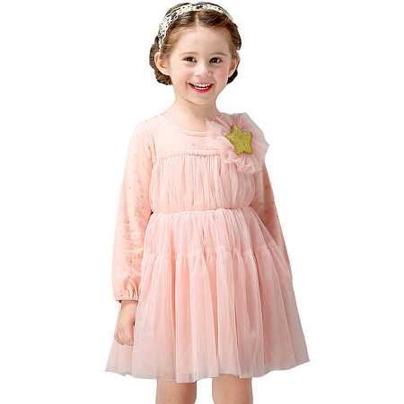 Stars Flower Decorated Tulle Dress