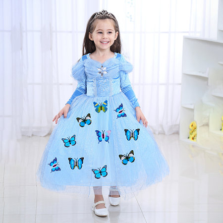 Butterfly Decorated Long-Sleeved Tulle Princess Dress