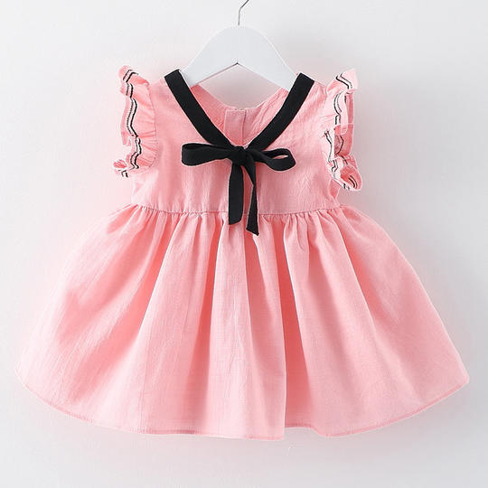 Bowknot Fly Sleeve Daily Dress