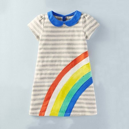 Rainbow Stripe Girls Summer Dress