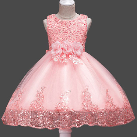 Bowknot Flower Decorated Sequin Zipper Back Princess Dress