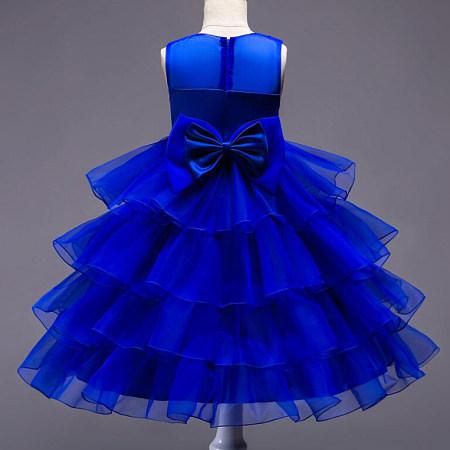 Big Bowknot Flower Decorated Layered Princess Dress