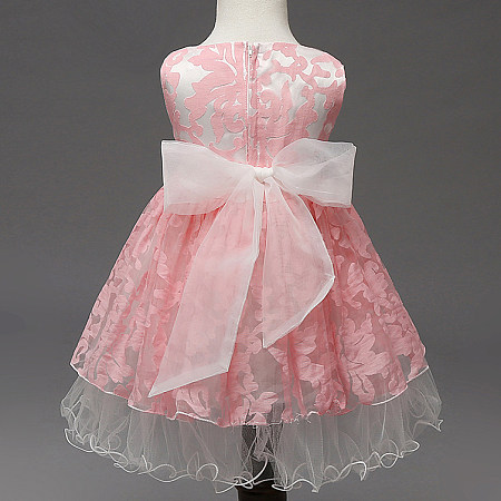 Big Tulle Bowknot Decorated Flower Prints Princess Dress