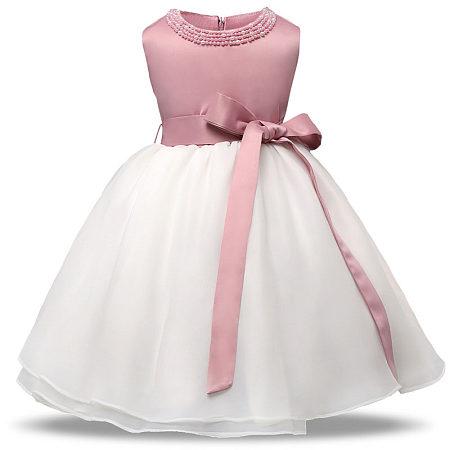 Beads Decorated Big Bowknot Self Tie Sleeveless Princess Dress
