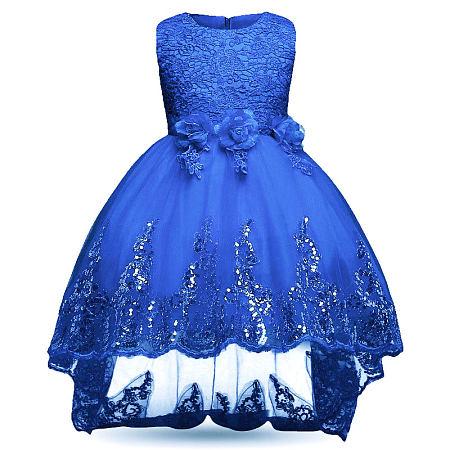 Flower Sequin Decorated Asymmetrical Sleeveless Princess Dress