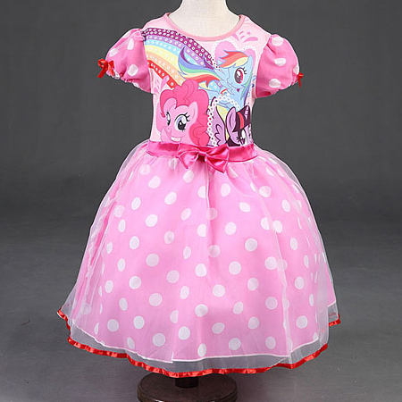 Cartoon Animals Pattern Bowknot Decorated Polka Dots Princess Dress