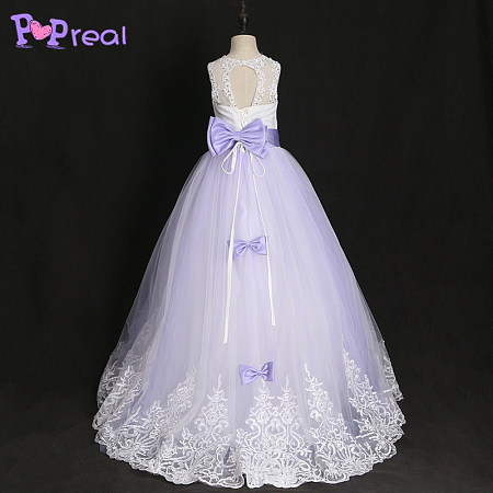 Lace Bowknot Sequin Decorated Floor Length Dress