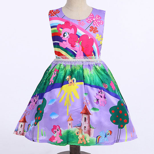 Cartoon Animals Pattern Self Tie Zipper Back Princess Dress