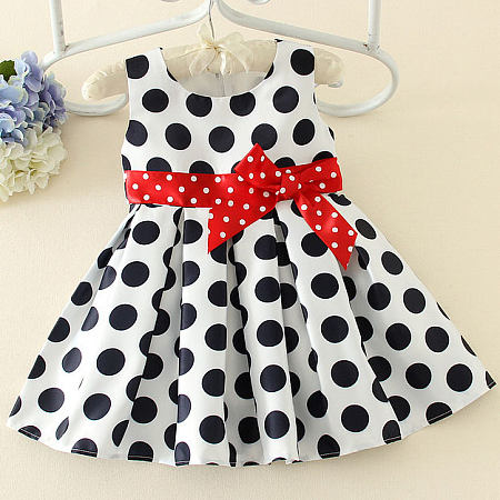 Thickened Polka Dots Bowknot Decorated Color Block Dress