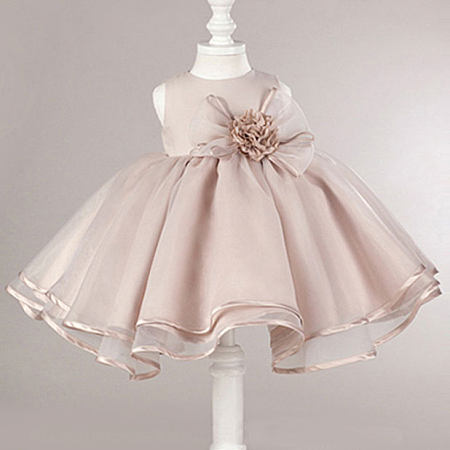 Flower Bowknot Decorated Self Tie Zipper Back Princess Dress