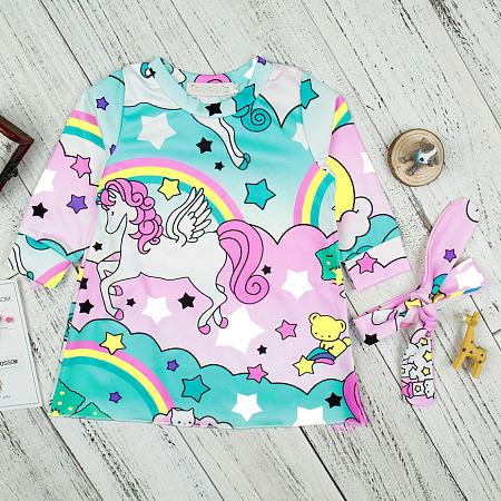 Cartoon Animal Pattern Star Prints Dress With Headband
