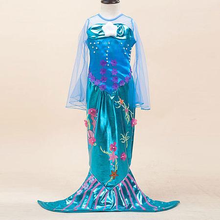 Beads Flower Plush Star Decorated Zipper Back Mermaid Princess Dress