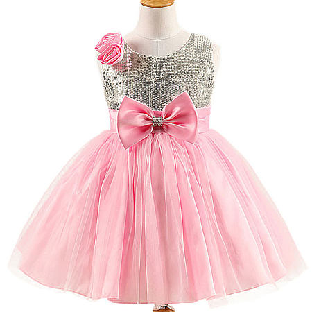 Flower Bowknot Decorated Zipper Back Self Tie Princess Dress