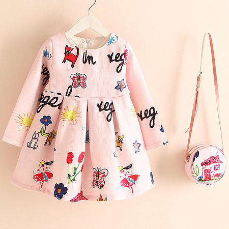 Cartoon Animals Letters Pattern Zipper Back Dress With Crossbody Bag
