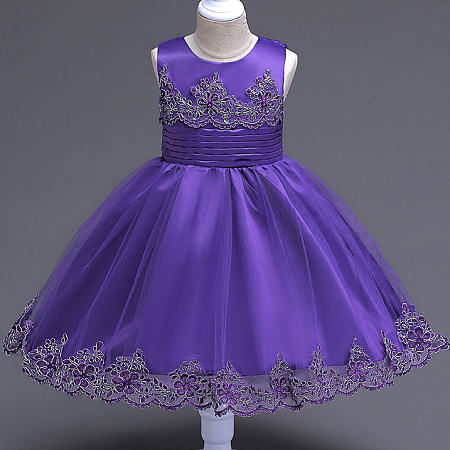 Beads Decorated Flower Embroidered Self Tie Princess Dress