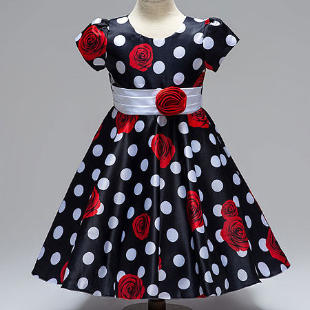 Flower Decorated Rose Prints Polka Dots Self Tie Princess Dress