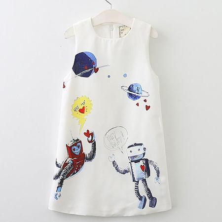 Cartoon Alien Pattern Zipper Back Sleeveless Dress