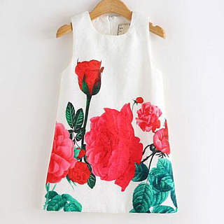 Flower Prints Zipper Back Sleeveless Dress