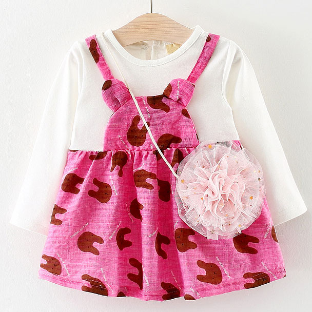 Bunny Prints Fake-Two-Piece Dress With Crossbody Bag