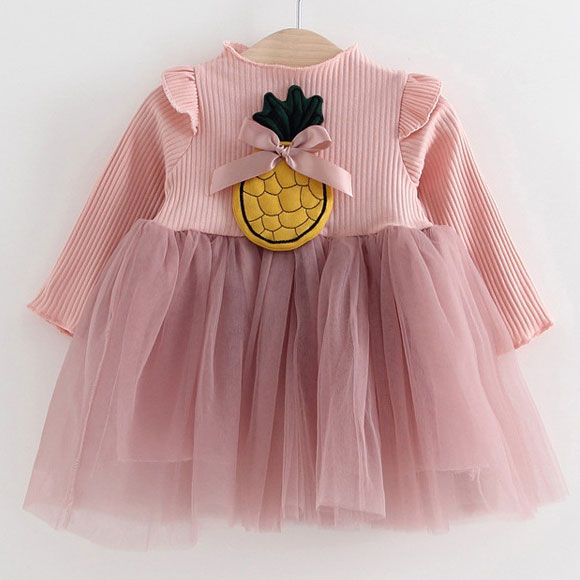 Bowknot Pineapple Decorated Self Tie Tulle Patchwork Dress