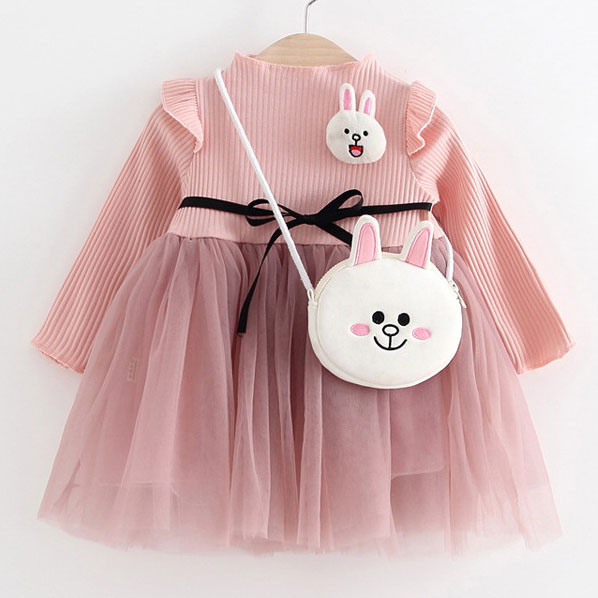 Cartoon Bunny Decorated Self Tie Tulle Patchwork Dress With Crossbody Bag