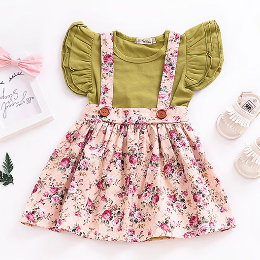 Flower Prints Suspender Pleated Skirt