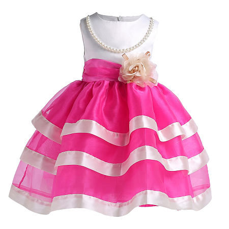 Beads Flower Decorated Self Tie Layed Princess Dress