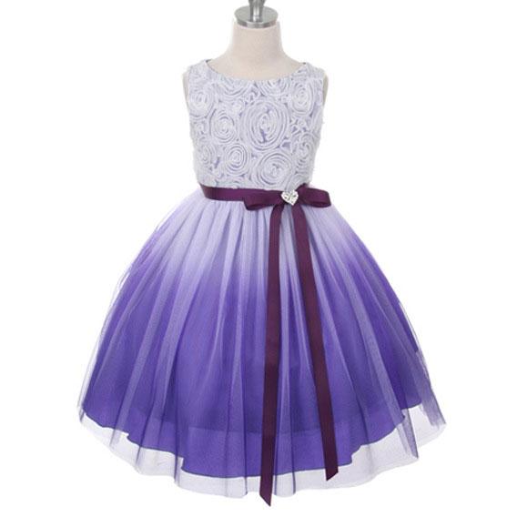 Bowknot Flower Decorated Gradient Color Princess Dress