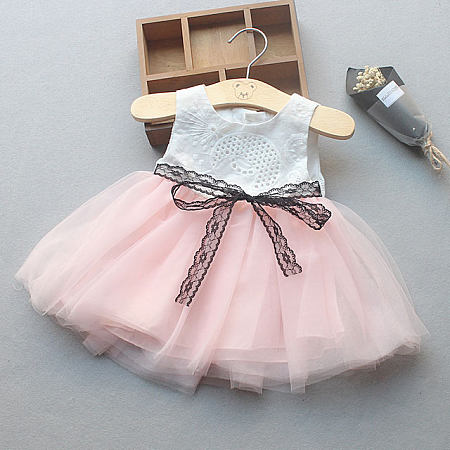 Lace Self Tie Tulle Patchwork Dress
